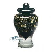 Gold and black glass miniature urn