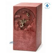 Pink zinc urn with angel