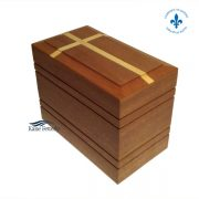 Solid mahogany urn with inlaid cross