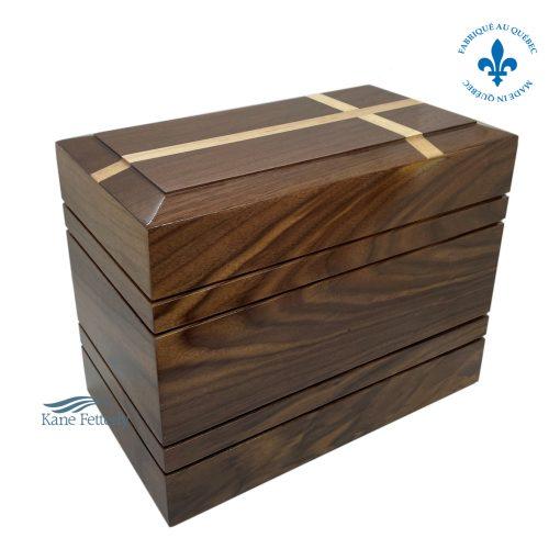 Solid walnut urn with inlaid cross