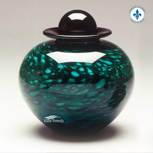 Forest green hand-blown glass urn