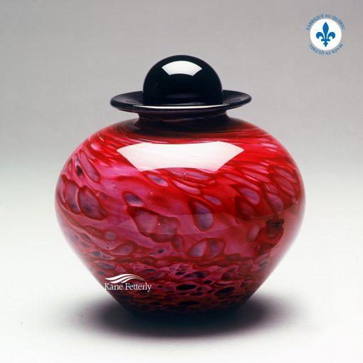 Red hand-blown glass urn