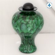 Green hand-blown glass urn