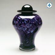 Violet hand-blown glass urn