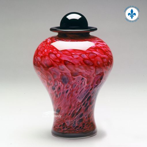 Ruby pink hand-blown glass urn