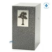 Zinc and aluminum urn with tree