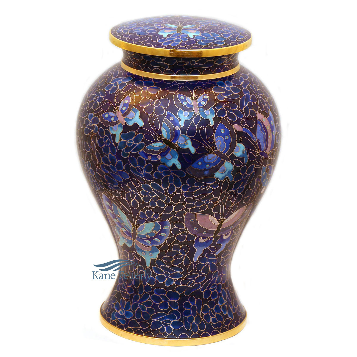 U8591 Cloisonné urn with butterflies