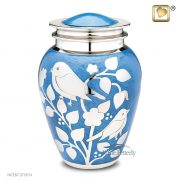 Blue brass urn with silver birds