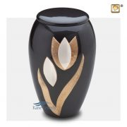 Brass urn with tulips