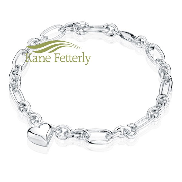 J0061 Sterling silver bracelet with heart charm