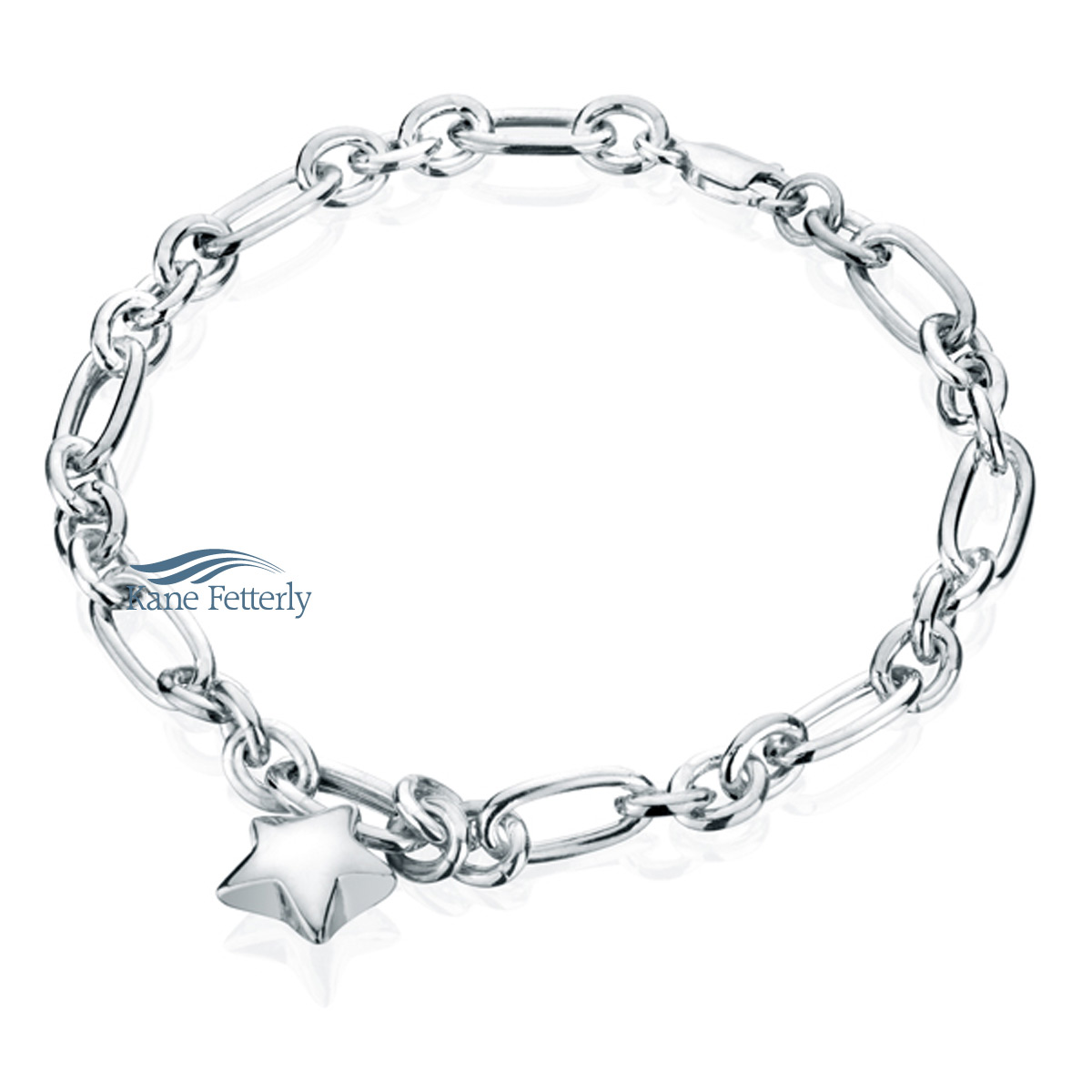 J0072 Sterling silver bracelet with star charm