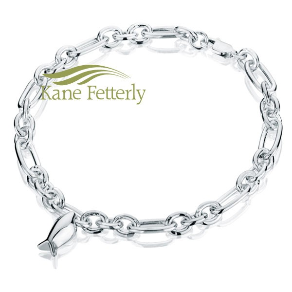J0074 Sterling silver bracelet with fish charm