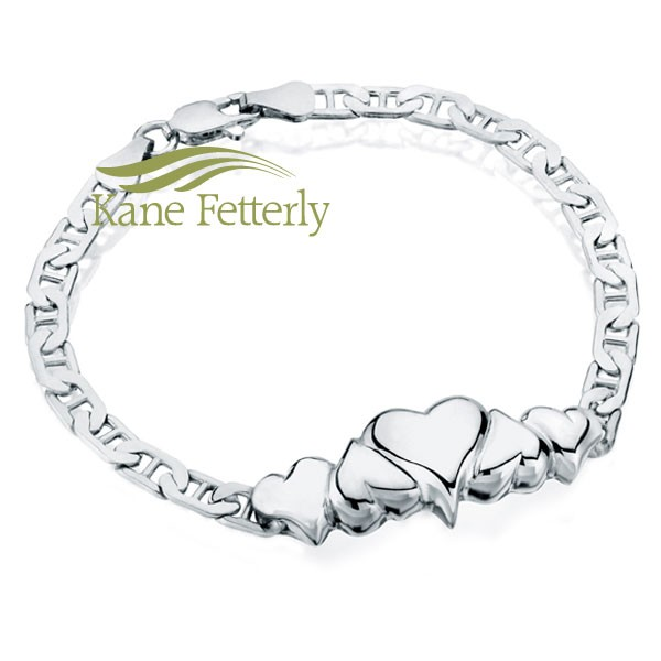 J0075 Sterling silver bracelet with hearts