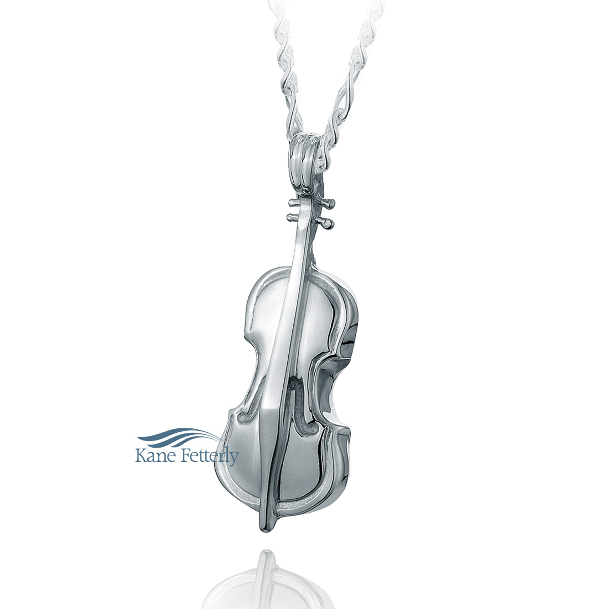 J0112 Violin pendant in sterling silver