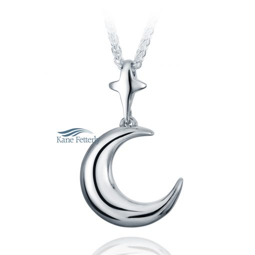 Moon and Star cremation pendant