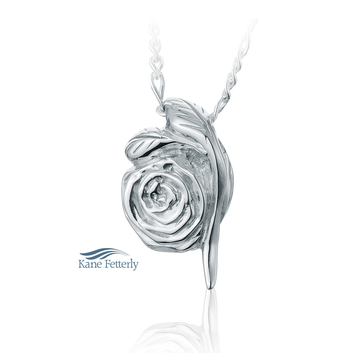 J0158 Rose pendant in sterling silver