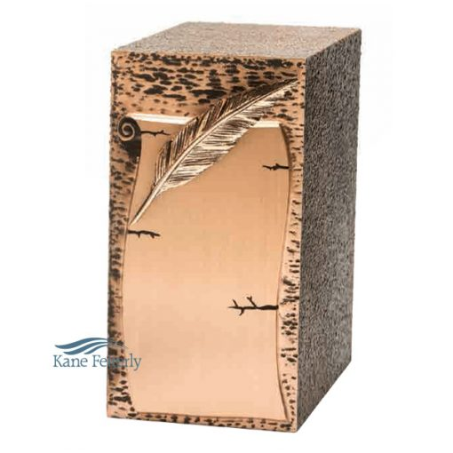 Zinc and bronze urn with feather quill on parchement paper