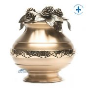 Bronze vase with roses