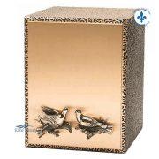 Urne double en bronze à motif de colombes