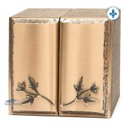 Urne double en bronze, motif pages de livre