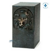 Blue zinc urn with angel