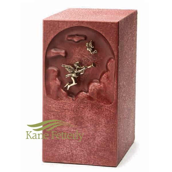 U2661 Pink zinc urn with angel
