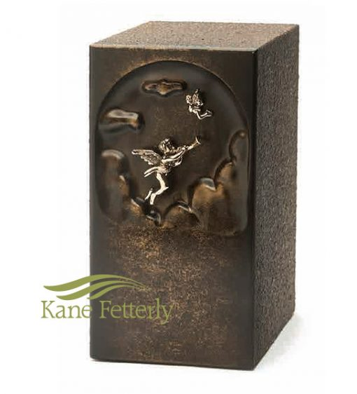 U2662 Brown zinc urn with angel