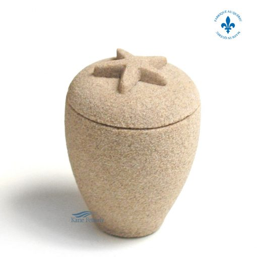 Sand miniature urn with starfish
