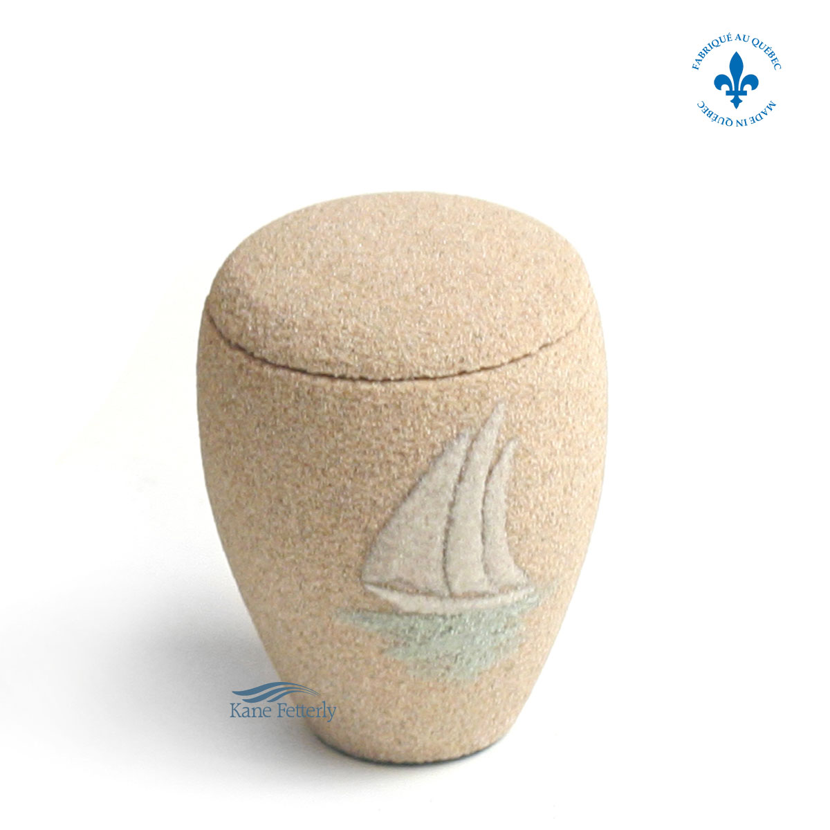 U3156K Sand miniature urn with sailing boat
