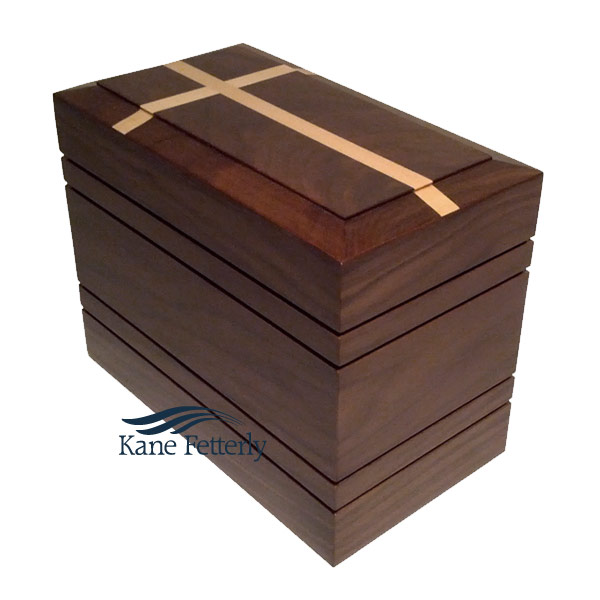 U4056 Solid walnut urn with inlaid cross
