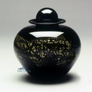 Black and gold hand-blown glass urn