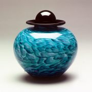 Turquoise hand-blown glass urn