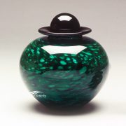 Forest green hand-blown glass urn