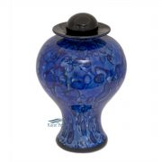 Blue hand-blown glass urn