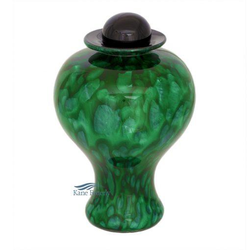 Urne en verre soufflé, couler vert forêt