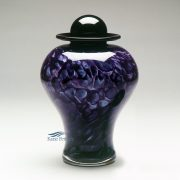 Violet hand-blown glass urn