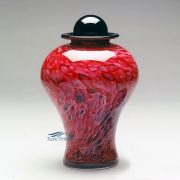 Ruby pink hand-blown glass urn