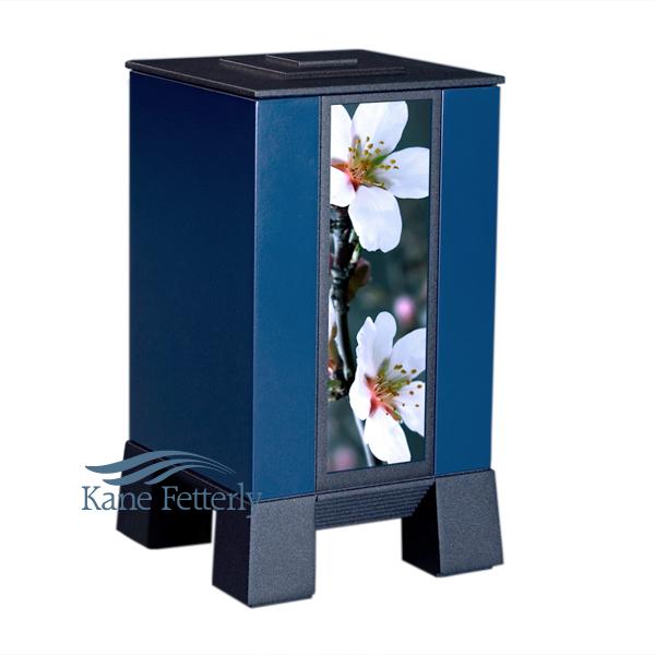 U8546 Blue-painted aluminum urn