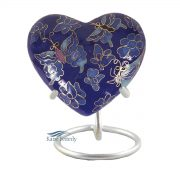 Blue cloisonné heart miniature urn with butterflies