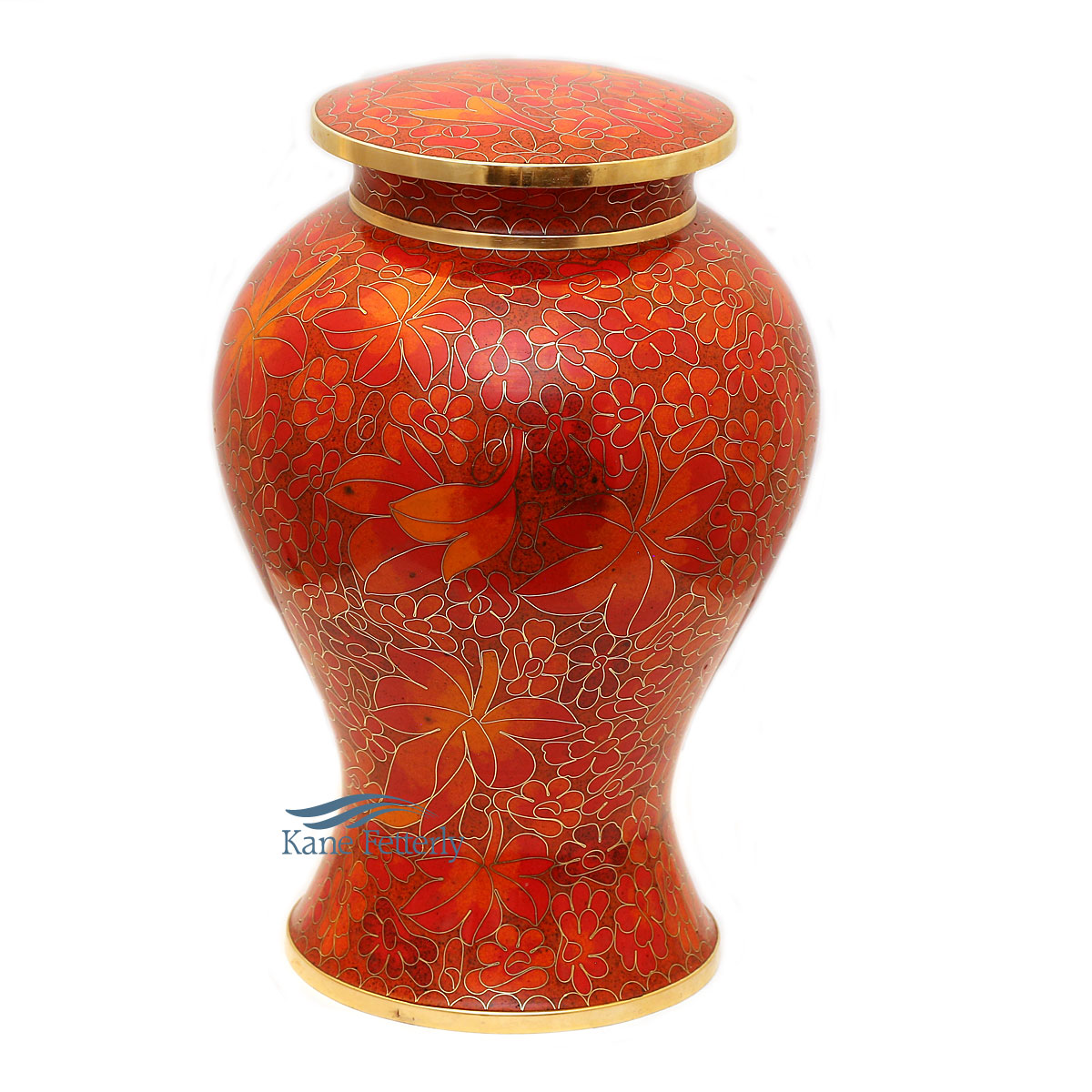U8592 Cloisonné urn with leaves
