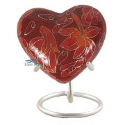 Red and orange cloisonné heart miniature urn