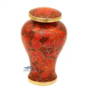 Cloisonné miniature urn with leaves
