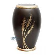 Brass urn with wheat motif