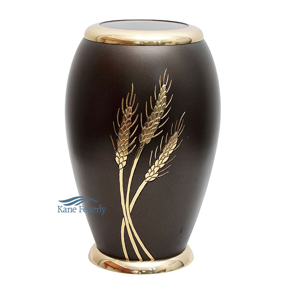 U8604 Brass urn with wheat sheaf