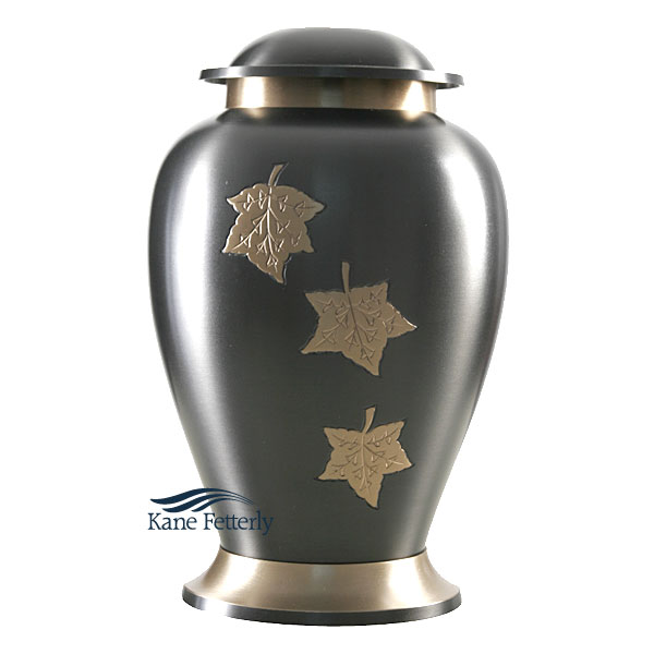 U8616 Brass urn with maple leaves