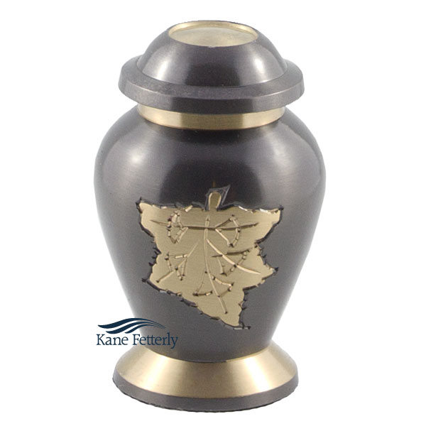 U8616K Brass miniature urn with maple leaf