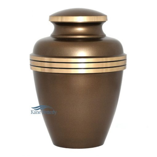 Brown urn with gold band