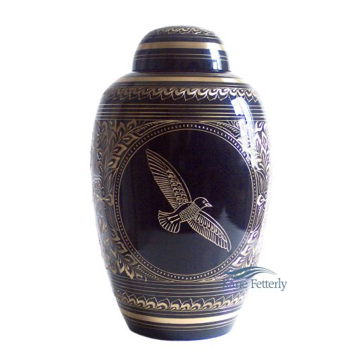 Blue and gold brass urn with dove