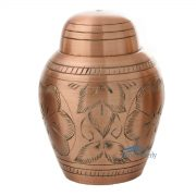 Brass miniature urn with copper finish