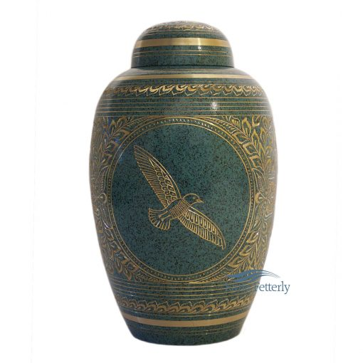 Brass urn with dove